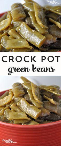 These Crock Pot Green Beans taste just like Gramma's! Crockpot Dishes, Crock Pot Slow Cooker, Crock Pot Cooking, Crockpot Veggies, Crock Pot Vegetables, Cooking Steak, Crockpot Meals, Canned Green Bean Recipes, Recipes