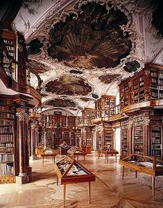 Benedictine Abbey of St. Gall, Switzerland, 719 AD. The Abbey contains one of the oldest, largest and most significant medieval libraries, consisting of 2100 codices. It is the only major medieval convent library still standing in its original location.