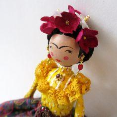 Frida Kahlo artdoll hand-painted paper mache by gamuza on Etsy
