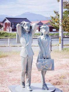 Shinichi and Ran's statue in Japan