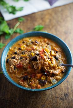 Crockpot Queso Chicken Chili with Roasted Corn and Jalapeño