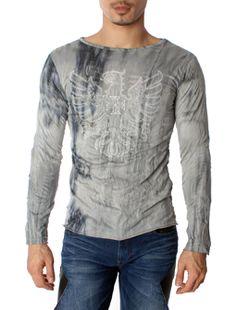 Eagle Crest Design Slim Fit Round Neck Long Sleeve T-shirt
