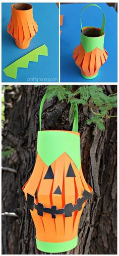 Pumpkin Lantern made from a recycled toilet paper roll and paper! Halloween craft for kids.