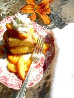 sour cream poundcake with honey bourbon nectarines, homemade whipped cream and lime zest