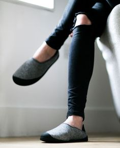 Mahabis slippers with a detachable grippy sole, so they are indoor/outdoor or upstairs/downstairs. ASM.