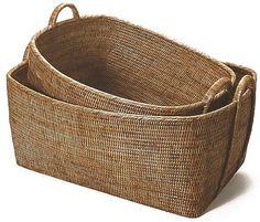 artifacts trading Rattan Basket with Hoop Handles