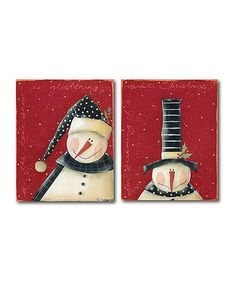 This Snow is Glistening & White Christmas Wrapped Canvas Set is perfect! #zulilyfinds