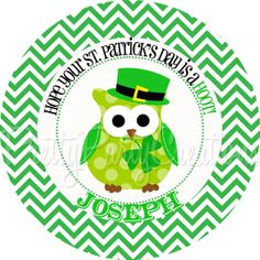 SHAMROCK OWL favor tags  You Print  3 or 2 by PrettyPartyCreations, $6.25