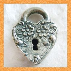 Vintage Faux Padlock with Garden Flowers Puffy Heart Sterling Charm