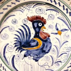 """Such a sweet happy rooster on this Tuscan ND Dolfi 11"""" Bowl - Italian pottery from Bonechi Imports"""