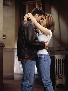 Ross Gellar and Rachel Green    Friends  Despite all their ups and downs, significant others, apartment shifts, and hairdos, Ross (David Schwimmer) has been in love with Rachel (Jennifer Aniston) since Day one. Some, more romantically inclined than I, would say that it was important for them to have been friends before they were lovers. I just say they were stalling the inevitable. (Although, if they shacked up early, she never would've tolerated Ross' monkey.) —Marc Bernardin