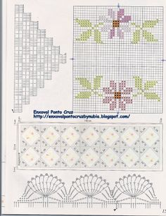 Layette Cross Stitch by Nubia Cortinhas: table runner in cross stitch w / spout crochet