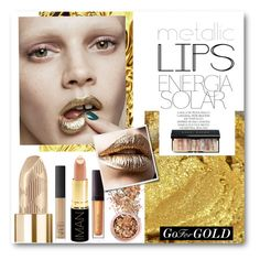 """#Metallic Lips - Go For Gold"" by nikkisg ❤ liked on Polyvore featuring beauty, Laura Mercier, In Your Dreams, Magdalena, Burberry, NARS Cosmetics, Bobbi Brown Cosmetics, Iman and metalliclips"