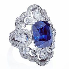 A stunning ring coming your way from Orlov jewelry 12ct royal blue sapphire ring set in white gold with 6ct white diamonds ORLOV jewelry.