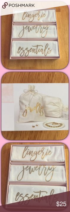 🎁NWT Pretty 3 PK Canvas Essentials Travel Bag Set 🎁✨These are so convenient for getaways, traveling or just for home! Nice cream color with gold writing! Super cute! Washable! Boutique Bags Travel Bags