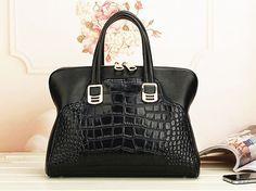 Crocodile style genuine cow Leather Handbag