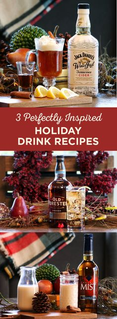 Raise your glass to holiday cheer with these three perfectly inspired, easy-to-make holiday cocktails. Try the Warm Apple Pie, Hazelnut Highball, and Nog + Mist.
