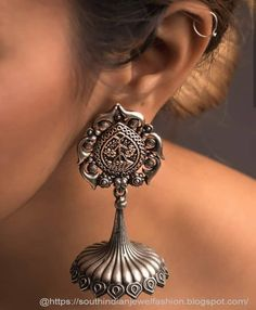 New Earrings Collections You Never Seen Before Indian Jewelry Earrings, Fancy Jewellery, Buy Earrings, Silver Jewellery Indian, Silver Earrings, Silver Jewelry, Silver Ring, Heavy Earrings, Jhumki Earrings
