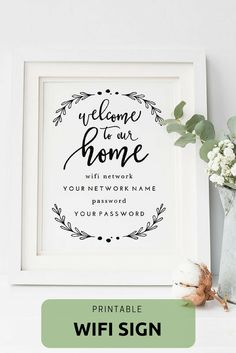 Welcome To Our Home WiFi Password Sign - Instant Download #ad #printable #Personalized #Customizable #etsy #etsyfinds #etsygifts