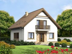 DOM.PL™ - Projekt domu ARN Tamarillo 3 CE - DOM RS1-74 - gotowy koszt budowy How To Plan, House Styles, Building, Home Decor, Small Condo, Houses, Decoration Home, Room Decor, Buildings