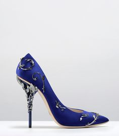 Ralph & Russo - Haute Couture Collection SHOES - STYLE 12-EDEN PUMPS-COBALT SATIN WITH GUNMETAL LEAVES
