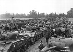 Second French armoured Division with American M4 Sherman tanks after landing on Utah Beach -- August 1, 1944