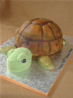 Giant turtle cake for a 60th birthday.  My first time airbrushing...so please be kind LOL!When I was almost finished I dripped airbrush color all over his face.  i couldnt get it off so I had to redo it.  My kids were away, so I was allowed to use some naughty language.