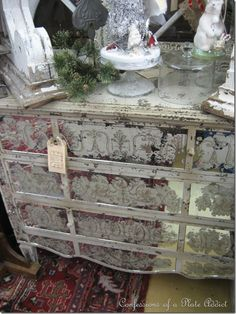 Antique mirrored French chest.... (seen one similar at TJ Maxx a few years ago, it was gone when I went back for it : ( )