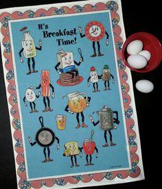 Kitchen Towel-Anthropomorphic Breakfast-Retro by TheCuriousKitchen