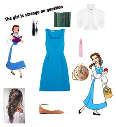 """""""Belle: town dress"""" by www-nyny ❤ liked on Polyvore featuring Disney, Michael Kors, WearAll, Jimmy Choo, Forever 21, Harveys, Lancôme and BeautyandtheBeast"""
