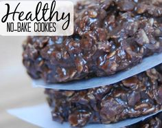 These healthy no-bake cookies are to die for! You'll never miss all the sugar you normally find in no-bakes! These healthy cookies are easy to make, and come together quickly for a spur-of-the-moment snack. Healthy No Bake Cookies, Healthy Baking, Healthy Desserts, Delicious Desserts, Heathy Treats, Coconut Cookies, Köstliche Desserts, Dessert Recipes, Good Food