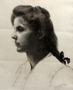 "Estudip Femenino, charcoal drawing, singed and dated ""Paris by Felix Resurreccion Hidalgo Philippine Art, Charcoal Drawing, Pinoy, Contemporary Art, Drawings, Filipino, Painting, Artists, Paris"