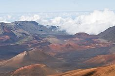 Landscape of dormant volcano craters inside the larger Haleakala crater (said to be the side of Manhattan). Hawaii photography.