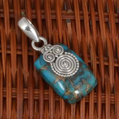 "925 STERLING SILVER AMAZING BLUE COPPER TURQUOISE PENDANT 5.03g P7193 L-1.3"" #Handmade #Pendant"