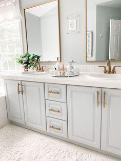Grey Bathroom Paint, Grey Bathroom Cabinets, Painting Bathroom Cabinets, Bathroom Mirror Cabinet, Bathroom Kids, Bathroom Renos, Master Bathroom, Paint Vanity, Bathroom Before After