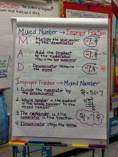 Love this mixed numbers/improper fractions anchor chart!