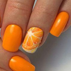 Bright Summer Nails Ideas, Citrus Nails, Juicy Summer Nails, Modern Nails, Nai … - All For Hair Color Trending Fruit Nail Designs, Best Nail Art Designs, Simple Nail Designs, Summer Nails 2018, Bright Summer Nails, Nail Summer, Bright Nails, Nail Art Orange, Orange Nails