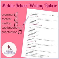 Writing Rubric for Middle School. Use this writing rubric for middle school as a student checklist or for a grading tool. Writing Curriculum, Writing Classes, Writing Lessons, Teaching Writing, Writing Services, Essay Writing, Writing Ideas, Writing Rubrics, Homeschooling