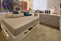 Fernanda Marques | Projetos | Empreendimentos Conselheiro Nebias Home Bedroom, Kids Bedroom, Bedroom Decor, Single Bedroom, Deco Design, Home Decor Furniture, Boy Room, Small Spaces, Condo