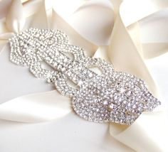 Extra Wide Rhinestone Bridal Belt Sash - Custom Ivory, White, Black Ribbon - Silver and Crystal Wedding Dress Belt. $58.00, via Etsy.