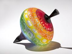Spinning Top Multi-color Whimsical Glass Art | Nancy Callan Glass Artist♥•♥•♥