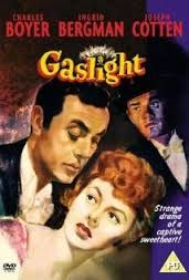 Gaslight (1944) is a mystery-thriller adapted from Patrick Hamilton's 1938 play Gas Light. Directed by George Cukor and starring Ingrid Bergman, Charles Boyer, Joseph Cotten, and 18-year-old Angela Lansbury in her screen debut. Soaked in paranoia, Gaslight is a period films noir that, like Hitchcock's The Lodger and Hangover Square, is set in the Edwardian age. It portrays the life of a rich, sheltered woman who threatened by an older, deranged husband. Their home  becomes a trap of terror.