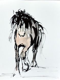 Horse Ink and mixed media Painting by Suzy Sharpe - www.suzysharpe.co.uk