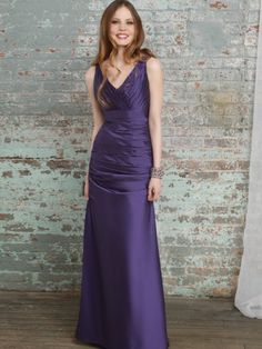(HUNG0242120 )2013 Style Sheath / Column V-neck Ruffles Sleeveless Floor-length Taffeta Grape Prom Dress / Evening Dress [200010810] - $119.99 : justlovedress.com