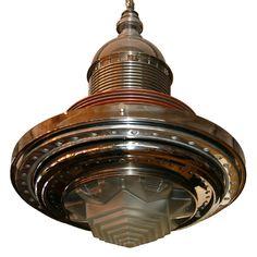 Beatutiful Art Deco Machine Age chandelier made from titanium rocket parts.