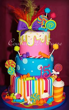 Candy cake...love this cake. So colorful...and fun! #cake #candy #colorful