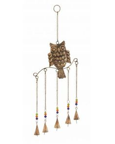 Beaded Metal Owl Wind Chime with Bells ь  The metal owl wind chime has a distinct charm and is sure to add a unique charm to your garden setting. This bird will add a natural style to your garden along with making an exclusive style statement on its own.