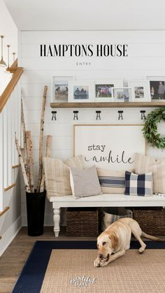 Hamptons Style Home | Hamptons Home Decor | Hamptons Entryway Decor | Stay Awhile Sign