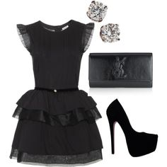 Miu Miu Dress With Ruffled Trim & Yves Saint Laurent Belle Du Jour Clutch Bag