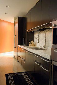 Kitchen contemporary kitchen***like dark cabinets with backsplash and lighter floor